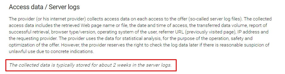 The LaTeX Project Data Privacy Policy: Access Data/Server Logs clause with retention schedule