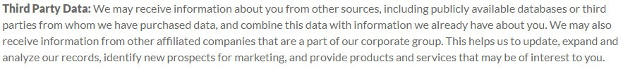 LogMeIn Privacy Policy: Third Party Data clause