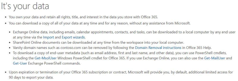 Microsoft's data portability notice