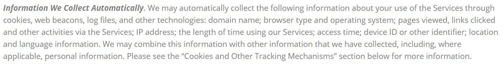 Salsa Labs SaaS Privacy Policy: Information We Collect Automatically clause