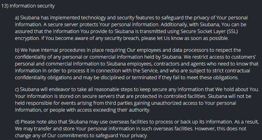Skubana Privacy Policy: Information Security clause