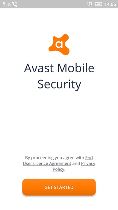 Avast Mobile Security app sign-up screen with Privacy Policy link