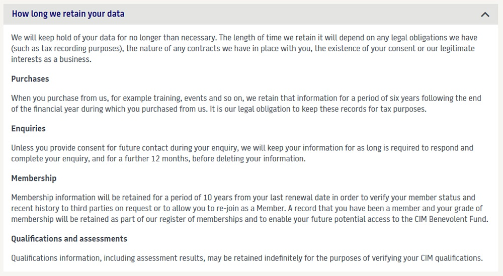 Chartered Institute of Management UK Privacy Policy: How long we retain your data clause