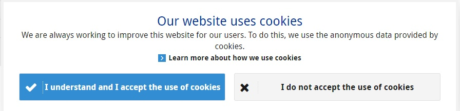 European Central Bank's cookie consent banner