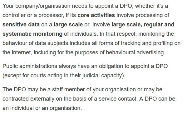 Screenshot of excerpt from European Commission's Policies, Information and Services on GDPR's DPO requirement