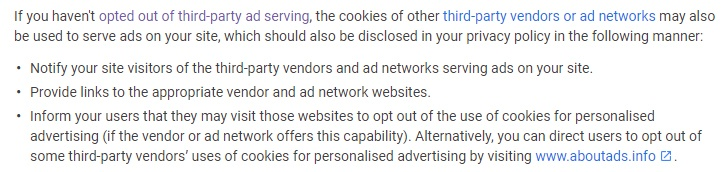 Google AdSense Required content: Third-party out-out - Privacy Policy requirements