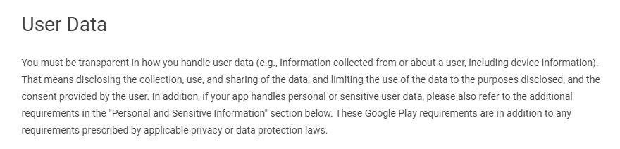 Google Play Developer Policy Center - Privacy, Security and Deception - User Data section
