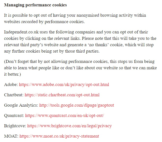 Independent.co.uk Cookie Notice - Managing performance cookies clause with third-party cookies links