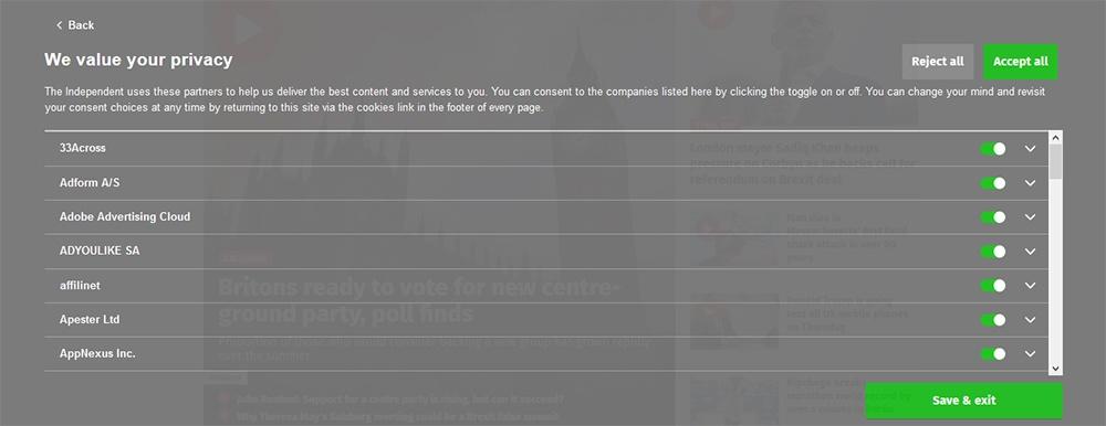 Independent.co.uk website cookies consent banner - Full vendor list settings screen