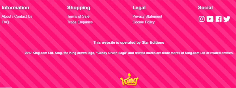Screenshot of King Candy Crush website footer
