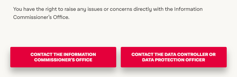 The Labour Party UK Privacy Policy: Contact clause with buttons for GDPR complaints