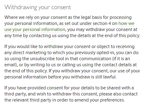 The Law Society UK Privacy Policy: Withdrawing your consent clause