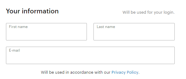 Screenshot of New Yorker magazine registration form showing Privacy Policy link