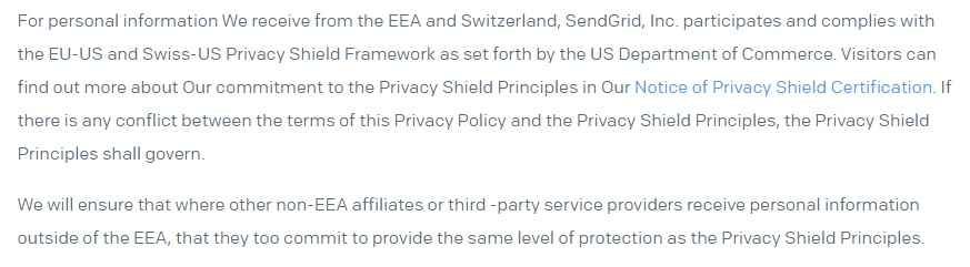 SendGrid Website Privacy Policy: Excerpt of International Transfers clause