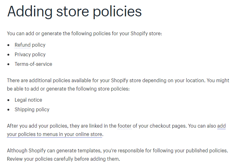 Shopify Help Center: Instructions for adding store policies