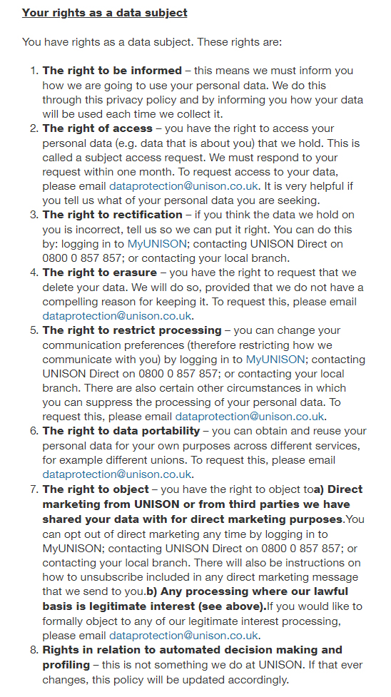 Unison UK Privacy Policy: Clause for rights of data subjects under the GDPR