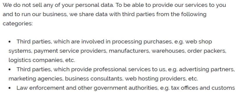 Wayks Privacy Policy: Clause for sharing personal data with third parties
