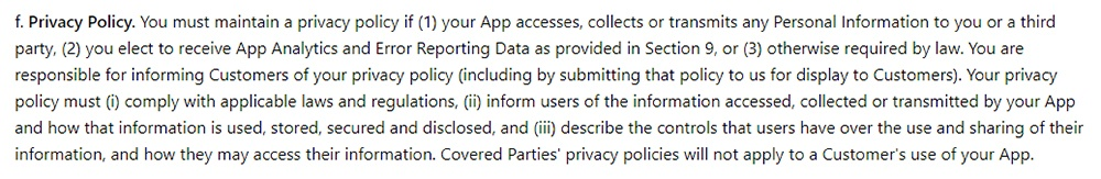 Windows App Developer Agreement Privacy Policy requirement clause