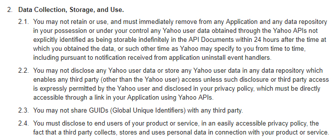 Yahoo Developer Network Terms of Use - Data Collection, Storage and Use clause excerpt