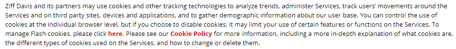 Ziff Davis Privacy Policy section on cookies and tracking technologies with link to Cookie Policy