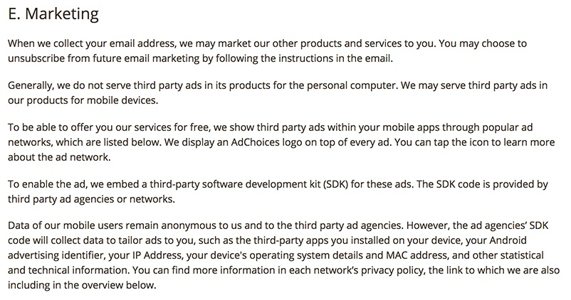 CCleaner Privacy Policy: Marketing clause