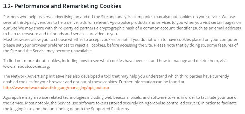 Agorapulse Privacy Policy: Performance and Remarketing clause