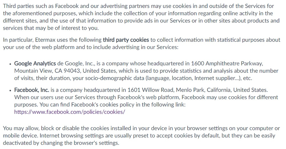 Etermax Privacy Policy: Third party advertising cookies clause