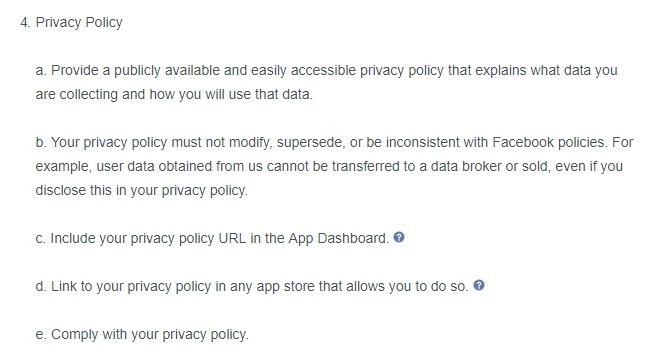 Facebook Platform Policy: Privacy Policy requirements section