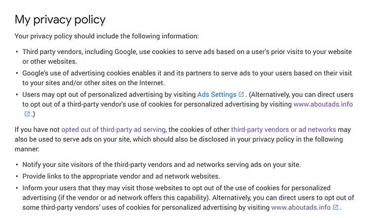Google AdSense Content Policies: Required Content for a Privacy Policy section