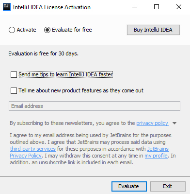 IntelliJ IDEA app set-up: License Activation and email newsletter sign-up screen