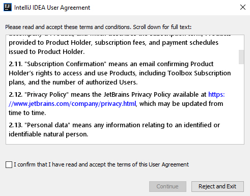 IntelliJ IDEA User Agreement with JetBrains Privacy Policy link