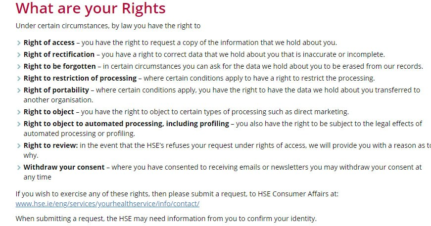 Ireland Health Service Executive Privacy Policy: User rights clause