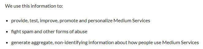 Medium Privacy Policy: How we use information clause excerpt