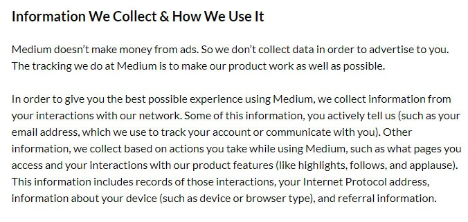 Medium Privacy Policy: Information We Collect and How We Use It clause excerpt