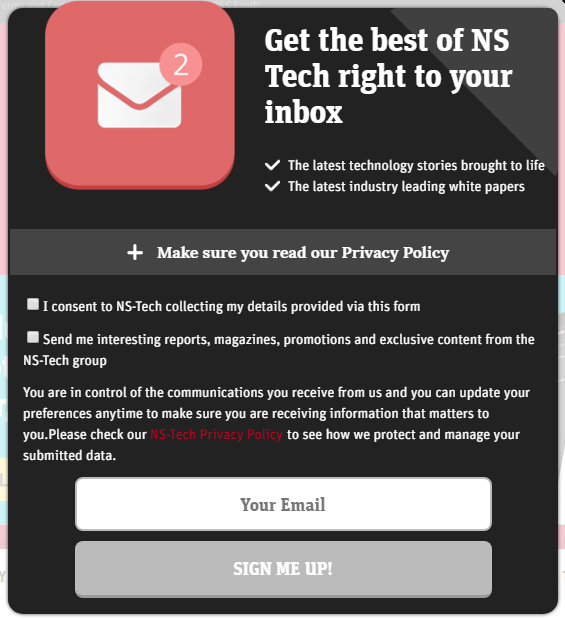 NS Tech email sign-up form with clickwrap for consent and a Privacy Policy link