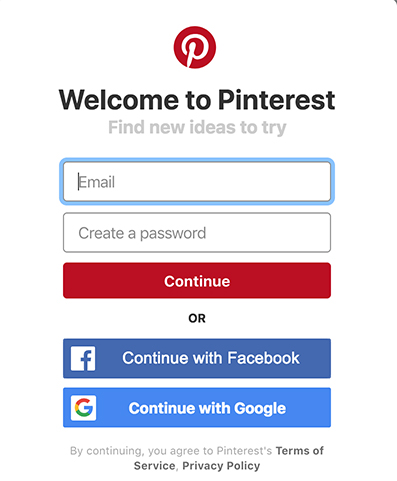 Pinterest mobile sign-up screen