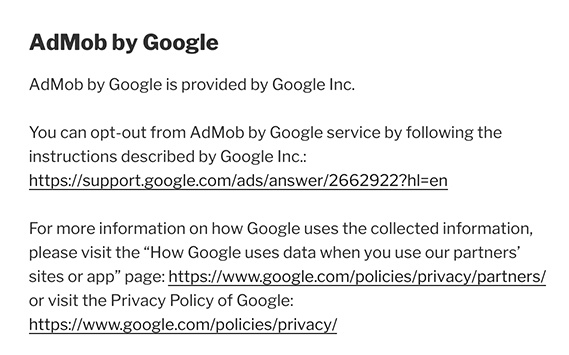 Remeasure Privacy Policy: AdMob by Google clause