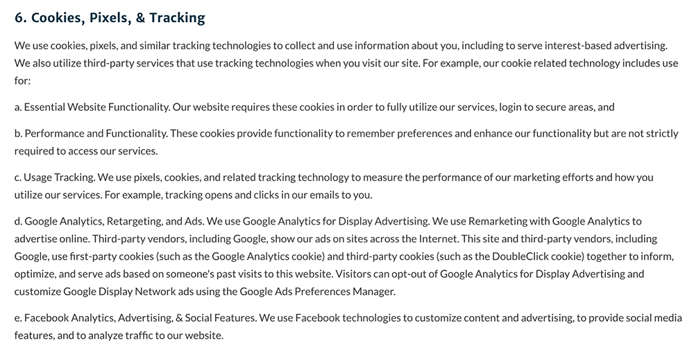 Woobox Privacy Policy: Excerpt of Cookies, Pixels, and Tracking clause