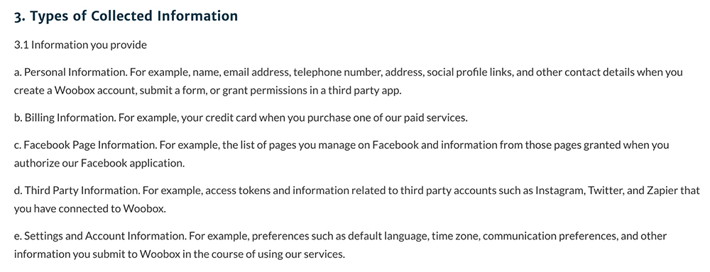 Woobox Privacy Policy: Excerpt of Types of Collected Information clause