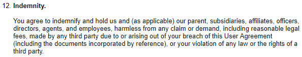 eBay UK User Agreement: Indemnity clause