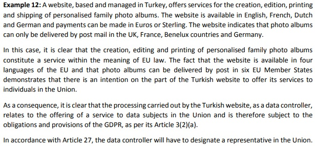 Screenshot of Example 12 from EDPB Guidelines on the Territorial Scope of the GDPR