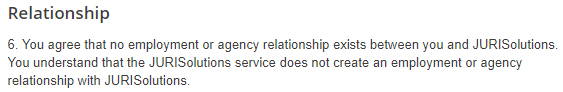 JURISolutions Terms of Use: Relationship clause
