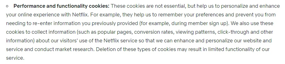 Netflix Privacy Policy: Performance and Functionality Cookies clause-updated