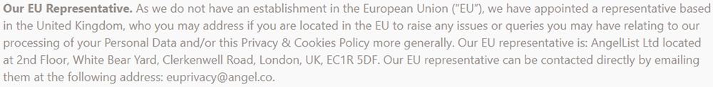 Product Hunt Privacy Policy: EU Representative clause