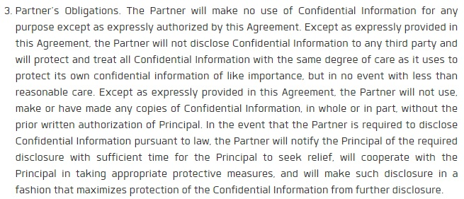 Socifi Partner Agreement: Partner's Obligations clause