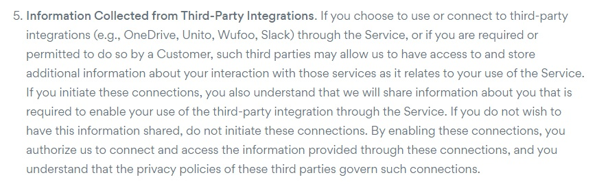 Asana Privacy Policy: Information Collected from Third-Party Integrations clause