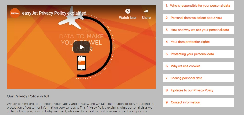 easyJet Privacy Policy Table of Contents