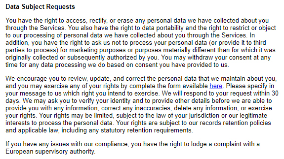 Fortune Privacy Policy: Data Subject Requests clause