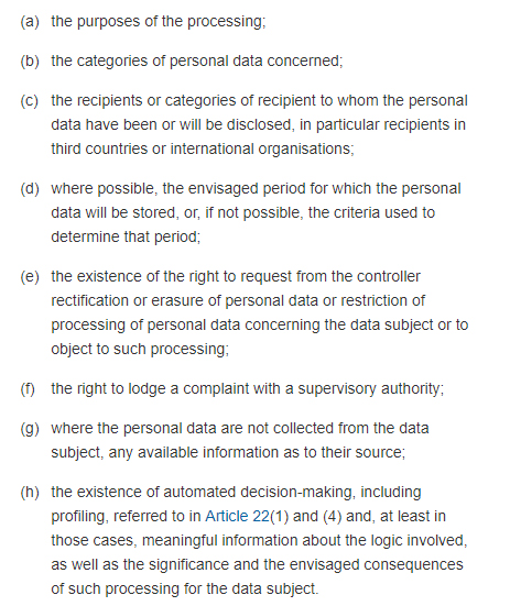 GDPR Info Article 15: Right of access by the data subject