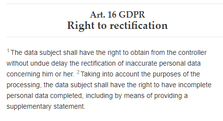GDPR Info Article 16: Right to rectification